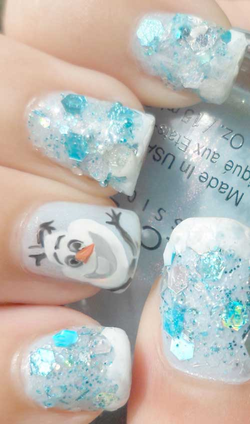 Frozen Olaf Nail Art Tutorial